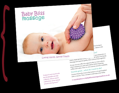baby bliss massage postcard